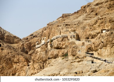 Greek Orthodox monastery on mount of temptation in Jericho, Palestine. The church is built over the stone were Satan challenged Jesus Christ to jump off the mountain.