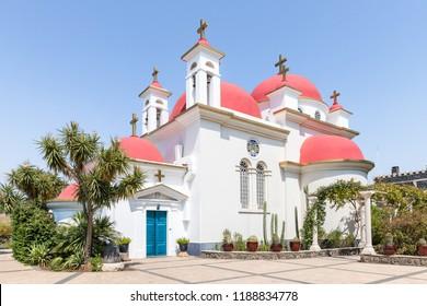 Greek Orthodox monastery of the twelve apostles in Capernaum (Cafarnaum) located on the coast of the Sea of Galilee - Kinneret, Israel