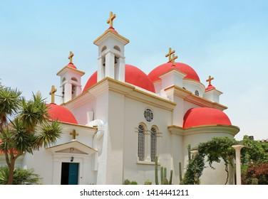 Greek Orthodox monastery of the twelve apostles in Capernaum located on the coast of the Sea of Galilee - Kinneret, Israel