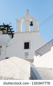 Greek orthodox white church with a bell tower, Naxos,Greece