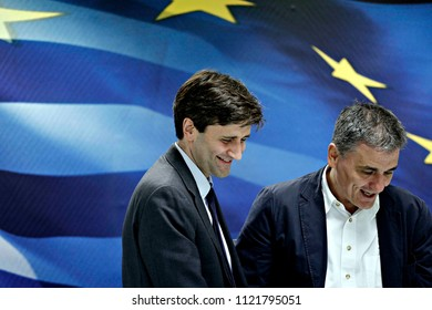 Greek outgoing Finance Minister Euclid Tsakalotos during a handover ceremony at the ministry in Athens, August 28, 2015.