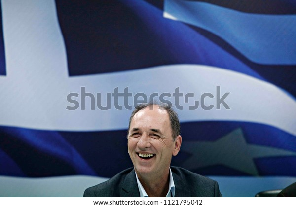 Greek outgoing Minister of Economy Giorgos Stathakis during a handover ceremony at the ministry in Athens, August 28, 2015.