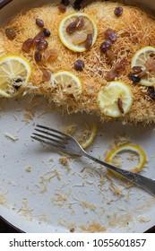Greek pastry cake kadaif on plate, natural