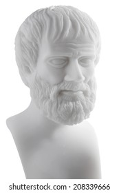 Greek philosopher Aristotle (384-322 B.C.E.) sculpture isolated on white background