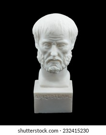 Greek philosopher Aristotle sculpture isolated on black