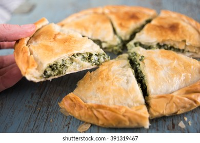 Greek Pie Spanakopita with Spinach and Cheese