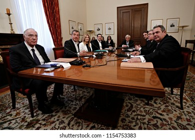 Greek political leaders prior to start the council meeting of political leaders convened by President Prokopis Pavlopoulos in Athens, Greece on March 4, 2016