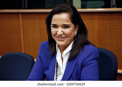 Greek politician, Dora Bakoyannis attends in Naming Konstantinos Mitsotakis room at the European Parliament in Brussels, Belgium on Nov. 30, 2017.