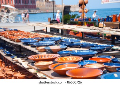 Greek pottery shop in Chania's harbour