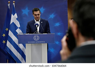 Greek Prime Minister Alexis Tsipras gives a press conference after the European Union leaders summit at the European Council, in Brussels, Belgium on Dec. 15, 2017