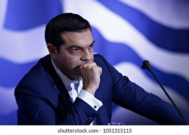Greek Prime Minister Alexis Tsipras gives press conference of 81st Thessaloniki International Fair in Thessaloniki,Greece on Sept 11,2016.