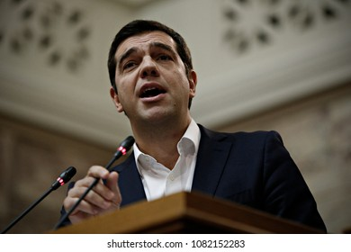 Greek Prime Minister Alexis Tsipras gives a speech in the Parliamentary Group of SYRIZA in Parliament, Athens, Greece on October 3, 2015