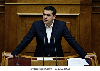 Greek Prime Minister, Alexis Tsipras gives a speech during a parliamentary session before a budget vote in Athens, Greece on Dec. 5, 2015