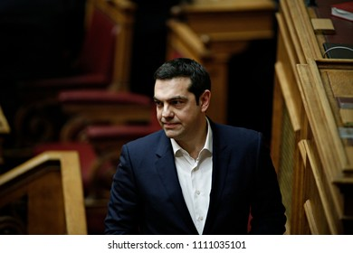 Greek Prime Minister, Alexis Tsipras attends in a discussion before a budget vote in Greek Parliament in Athens, Greece on Dec. 5, 2015