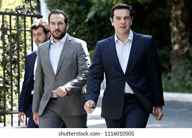 Greek Prime Minister Alexis Tsipras leaves his office at Maximos Mansion in Athens, Greece, July 18, 2015