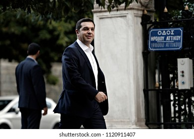 Greek Prime Minister Alexis Tsipras leaves his office at Maximos Mansion in Athens, Greece, September 21, 2015