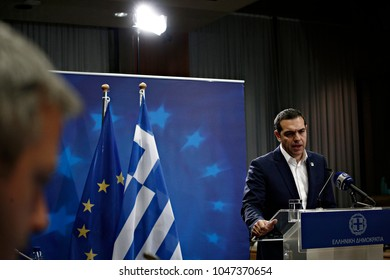 Greek Prime Minister,Alexis Tsipras, gives press conference after the end of the informal meeting of European Union leaders at the European Council headquarters in Brussels, on February 23, 2018.