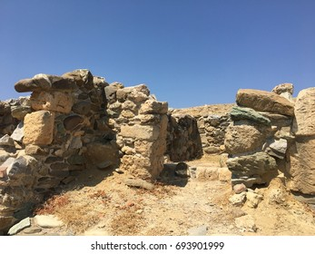 Greek ruin on a summer day with blue sky