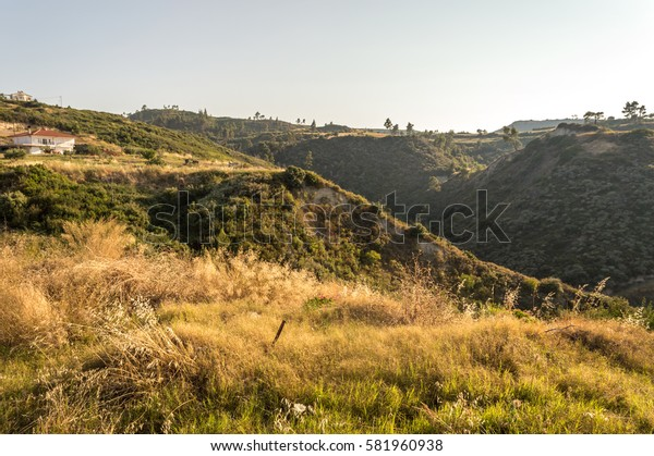 Greek rural landscape with dark gully. Halkidiki
