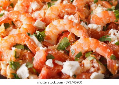 Greek saganaki prawns macro. Horizontal background
