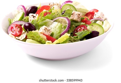 Greek salad in a bowl - Isolated