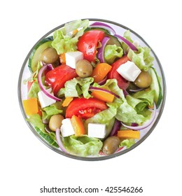 Greek Salad closeup isolated on white background