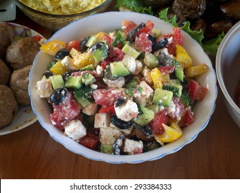 greek salad cooked at home in the plate