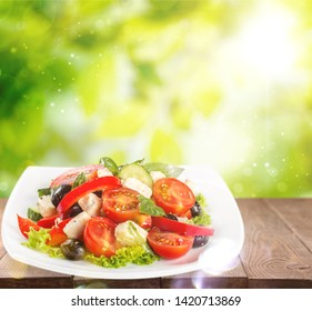 Greek Salad - Feta Cheese, Olive and Vegetables, isolated on white