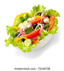 greek salad isolated on white background