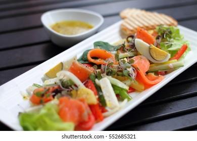 Greek Salad with Smoked Salmon