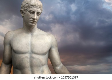 Greek Sculpture. Young Adonis bronze statue with blue sky background