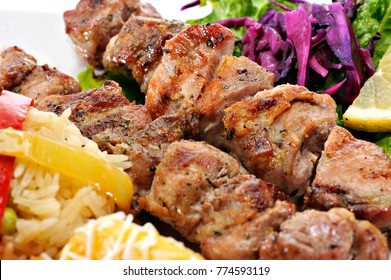 Greek Souvlaki with rice and vegetables