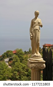 Greek statue at the mountain olymp
