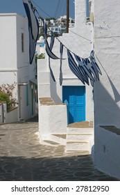 Greek street scenery with greece flags
