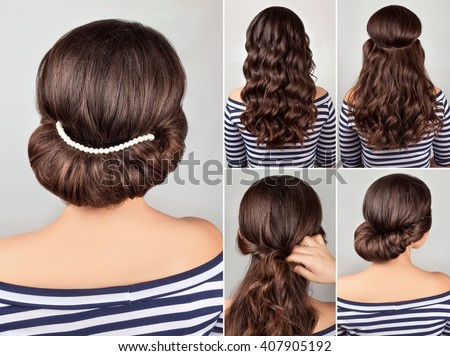 greek style hairdo with string of pearls. Hairstyle tutorial for long hair