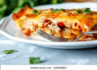 Greek style moussaka with eggplants, ground beef and potatoes.