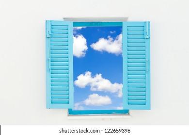 Greek Style windows with blue sky