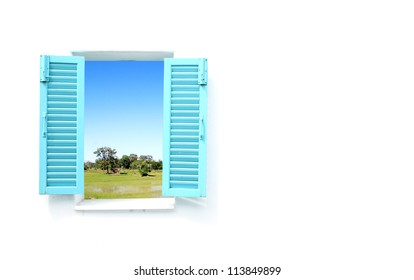 Greek Style windows  with country filed view and wall blank for text