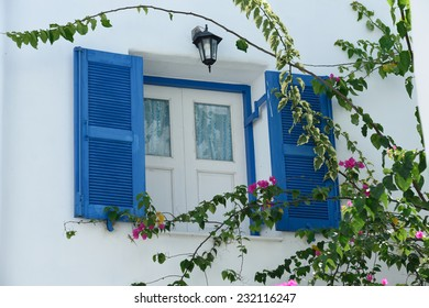 Greek Style windows and flower on white wall