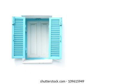 Greek Style windows  on white wall blank for text
