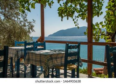 Greek tavern sea view in Alonnisos island at Greece.
