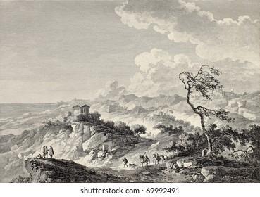 Greek temple in Agrigento surroundings, Sicily. By Chatelet and Couché, publ. on Voyage Pittoresque de Naples et de Sicilie,  J. C. R. de Saint Non, Impr. de Clousier, Paris, 1786