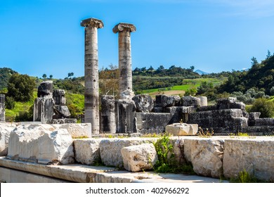 Greek Temple of Artemis near Ephesus and Sardis was build 400 BC  aslo called Temple of Diana. One of Seven Wonders in World. / Greek Temple of Artemis near Ephesus and Sardis