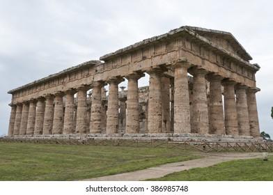 Greek temple at Paestum, ancient Poseidonia, in Campania, Italy, ex Magna Graecia