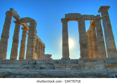 Greek temple of Poseidon at cape Sounion (Greece)