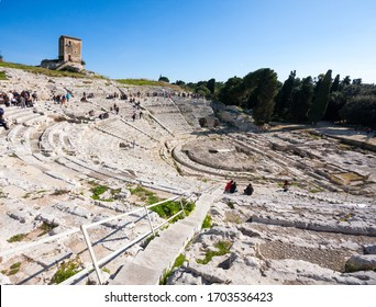 Greek theatre at Archaeological Park of Neapolis, Syracuse, Sicily, Italy