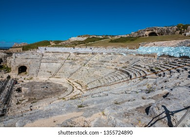 The Greek theatre of Syracuse (Siracusa), a historic city on the island of Sicily, Italy. Notable for its rich Greek history, culture and architecture