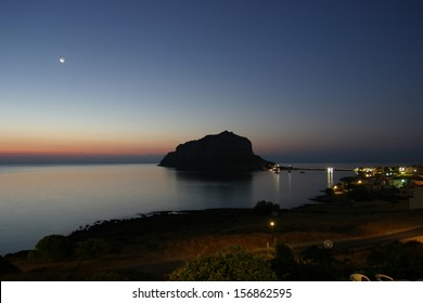 Greek town Monemvasia in Laconia south-eastern peloponnese. View on a small peninsula hosting a medieval town.