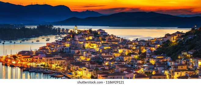 Greek town Poros at night, Greece
