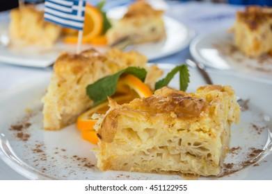 Greek traditional desert, portokalopita, a refreshing orange pie